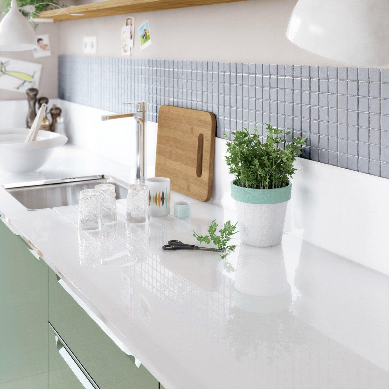 Plan De Travail Sur Mesure Verre Laque Blanc Ep 15 Mm Plan De Travail Laque Blanche Credence Cuisine Verre