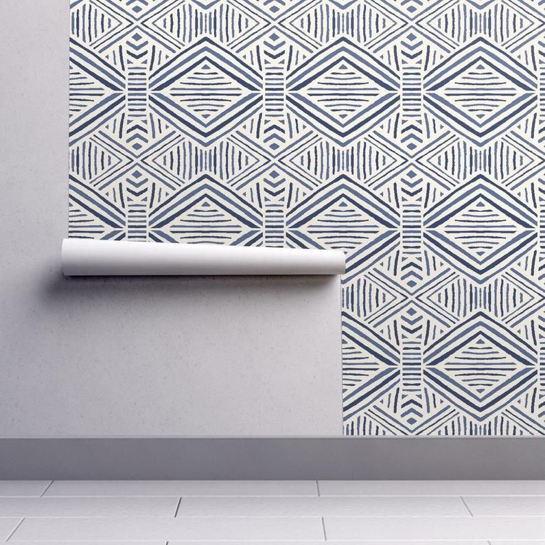 Tribal Geometric Wallpaper Tribal Abstract Navy Blue By Etsy Tribal Wallpaper Tribal Geometric Geometric Wallpaper