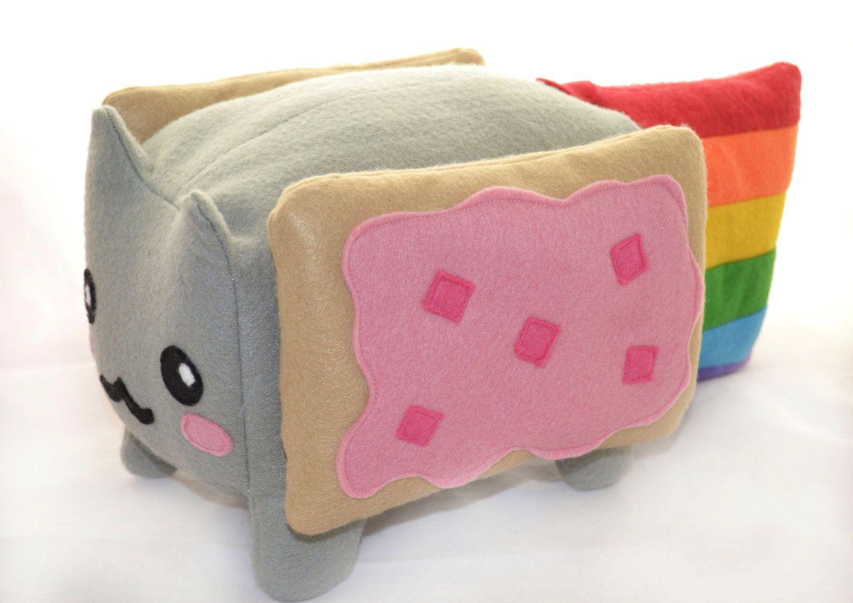 Nyan Cat BIG Kawaii Plush Toy Loaf Shape , Cube / Pillow