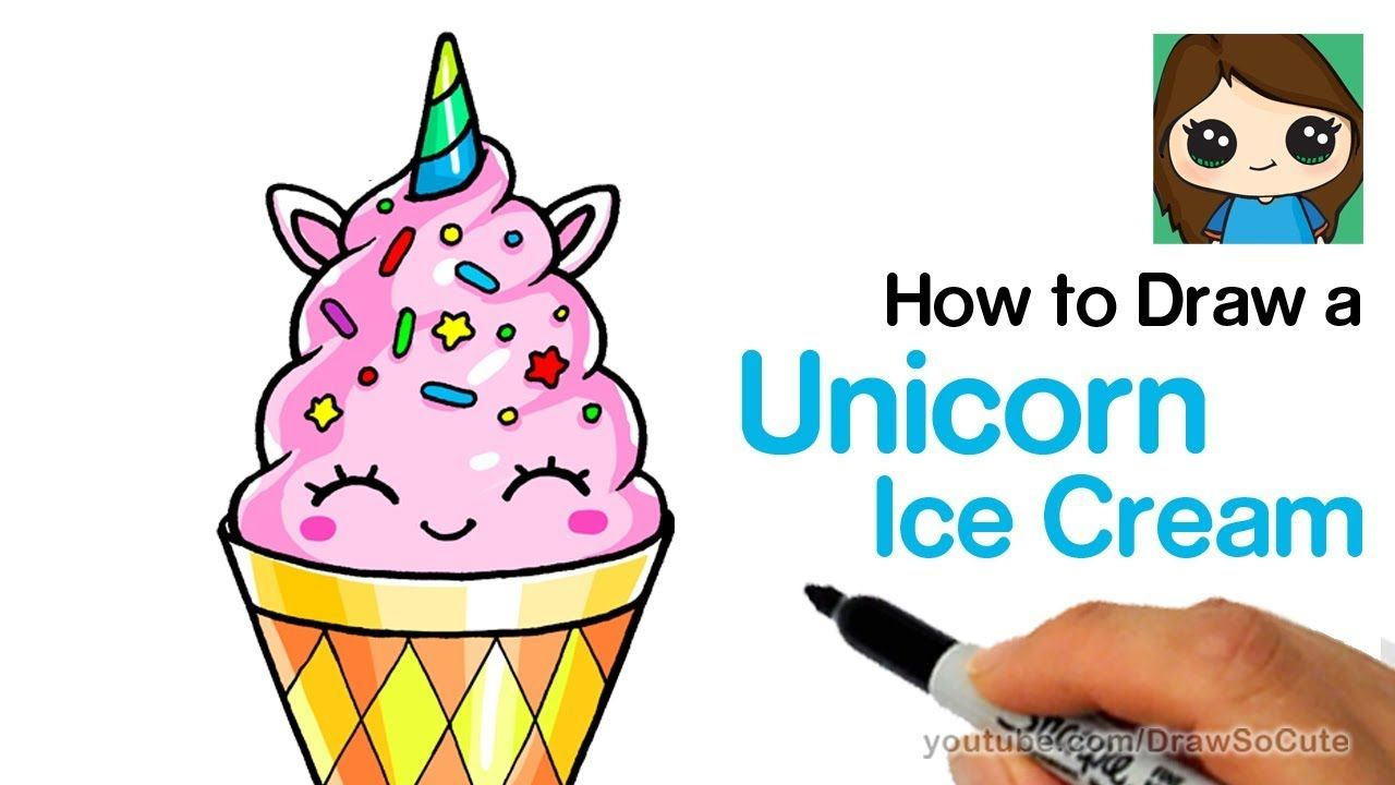How To Draw A Unicorn Ice Cream Easy And Cute Youtube With