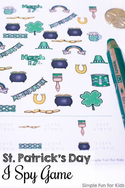 St. Patrick\'s Day I Spy Game | Spy games, Kids learning and Spy