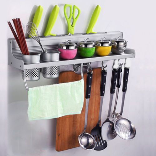 Silver Wall Hanging Multifunctional Aluminum Kitchen Wall Rack/Shelf w/Hooks US & Silver Wall Hanging Multifunctional Aluminum Kitchen Wall Rack/Shelf ...