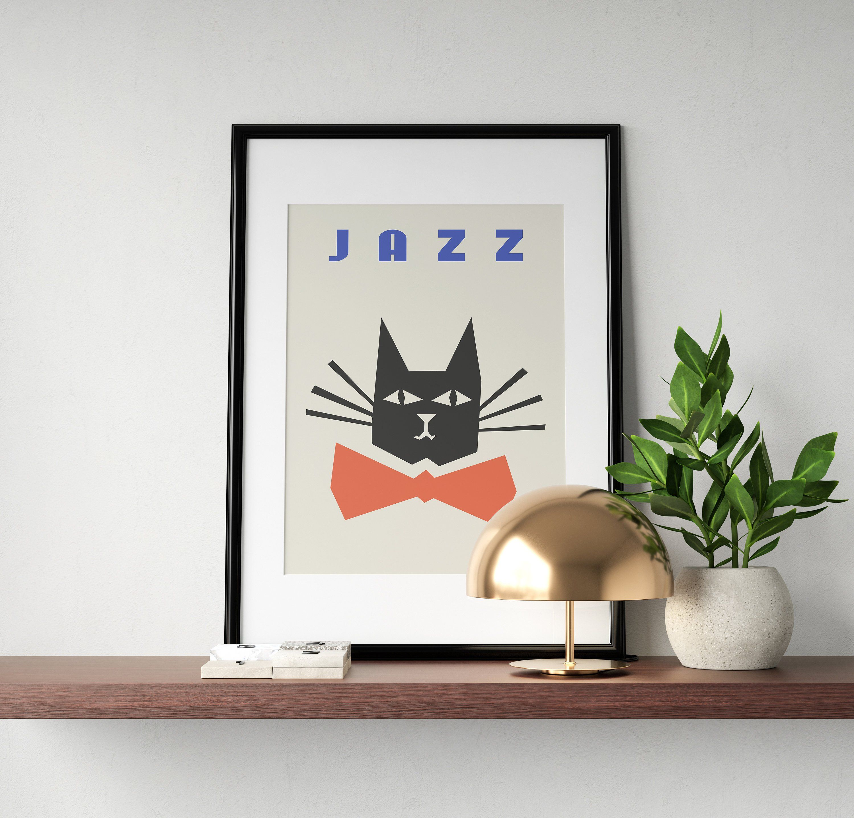 Jazz poster cat print fashion wall art black white posterjazz