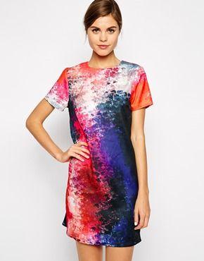 29468ee6d922 Warehouse Cloud Print Shift Dress Mode Kjoler