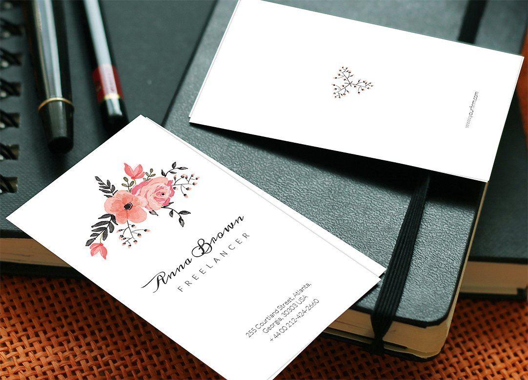 Flower Business Card by Webvilla on @creativemarket | Danh thiếp đẹp ...