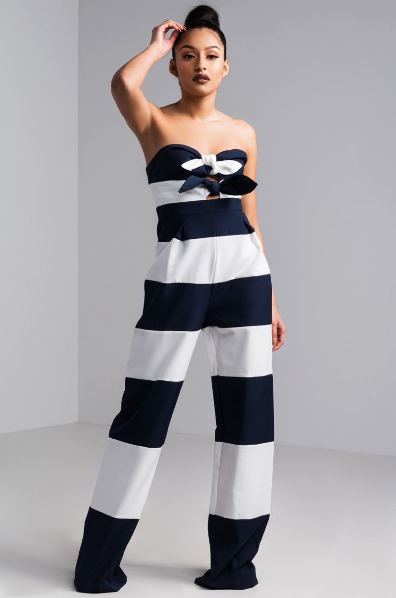 77eb54e5d Nautical but nice. The AKIRA label One More Night Strapless Striped ...