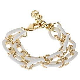 "Chain link bracelet in white with gold-plated accents.  Product: BraceletConstruction Material: Resin, zinc and tinColor: White and goldFeatures:  Gold-plated detailsChain links2"" Extension Dimensions: 6.75"" W x 0.75"" D (flat)"