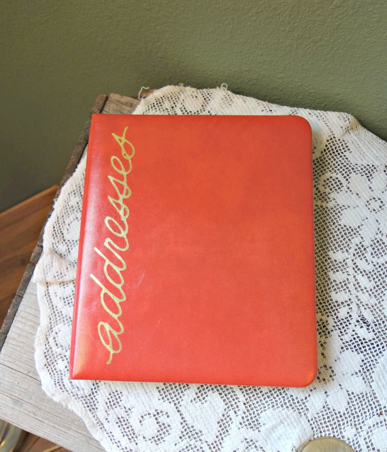 Address book, 70s, Red Orange vinyl, loose leaf, C R Gibson refill set no 2210, extra pages, 7.5 x 6.5 inches by EKRdoodleVintage on Etsy