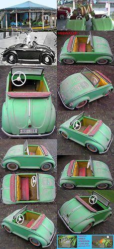 HTF 1952 VW BEETLE BUG SPLIT WINDOW CONVERTIBLE HEBMULLER CAROUSEL CAR LAST TIME