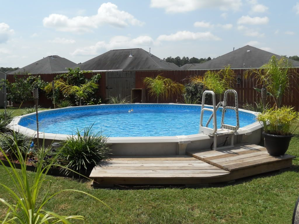 Intex pools intex ultra frame pools above ground for Above ground pool border ideas