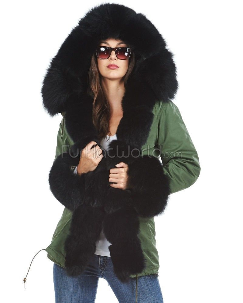 The Captain Black Fur Lined Military Parka with Premium Fox Trim ...