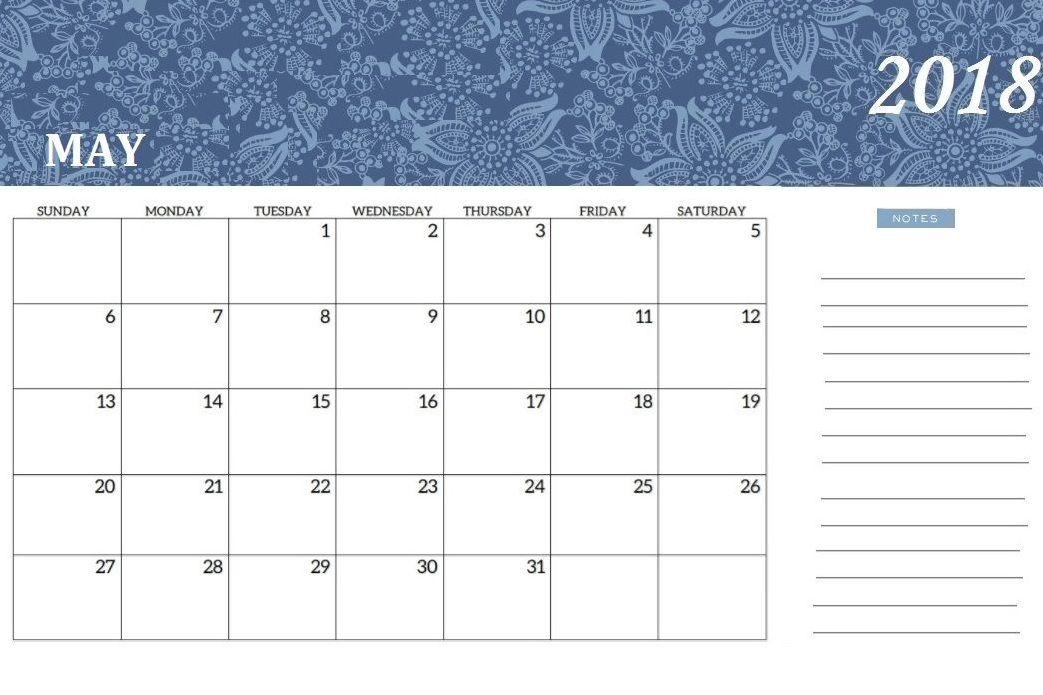 Printable May 2018 Calendar Editable Calendar 2018 Pinterest