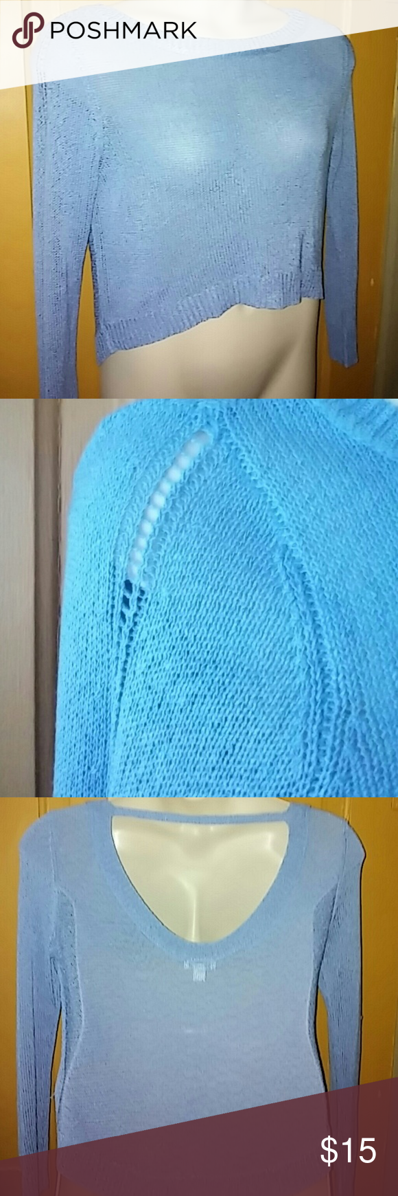 Sexy light blue sweater size M Excellent condition.... 80% acrylic 20%nylon Bisou Bisou Sweaters Crew & Scoop Necks