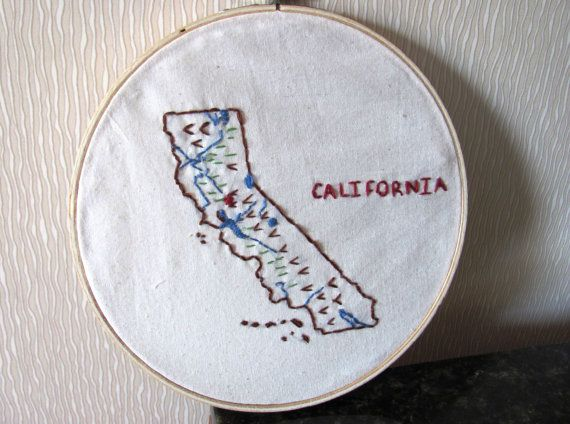 California Map Embroidery Hoop Wall Art Wedding Location Art 7