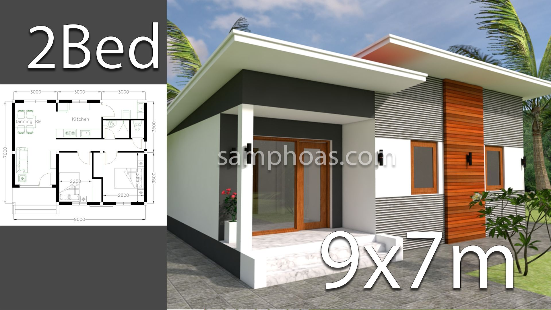 Plan 3d Home Design 9x7m 2 Bedrooms | Bedroom house plans, Small ...