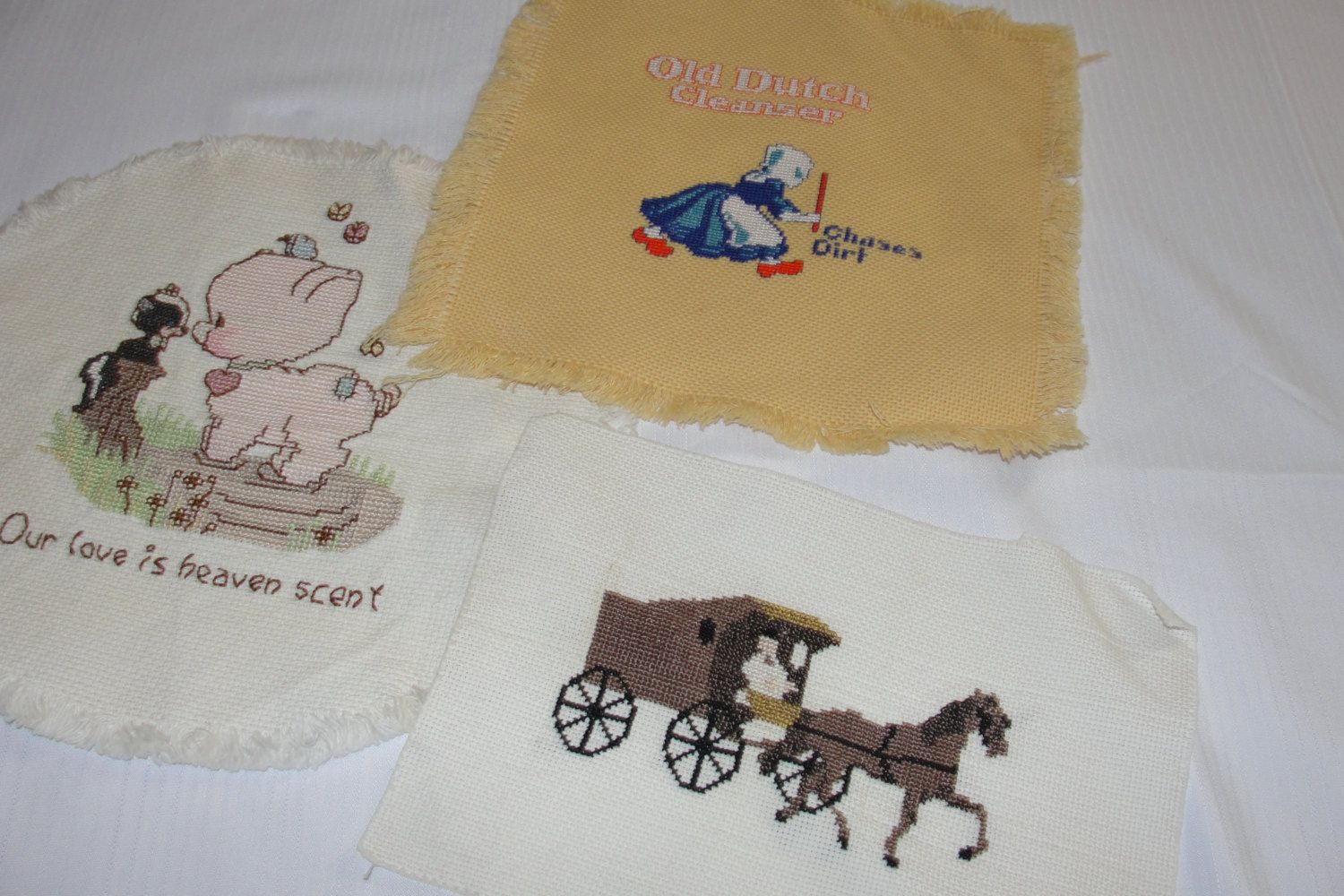 Vintage Embroidered Cross Stitch Lot of 3 Decoration/Advertising Pieces Horse & Carriage, Old Dutch Cleanser and Piggy with Skunk by TrinitysWorld on Etsy