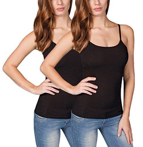 best loved db47e c949f VEDATS 2er-Pack Damen Unterhemd Spaghettiträger Shirt Body ...