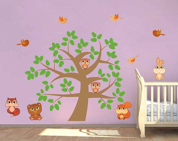 Tree Wall Decals Owls Wall Decals Woodland Wall Decals For Nursery