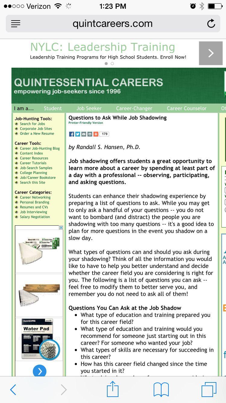 Job Shadowing Questions Job Shadowing Student Jobs Leadership Training Programs