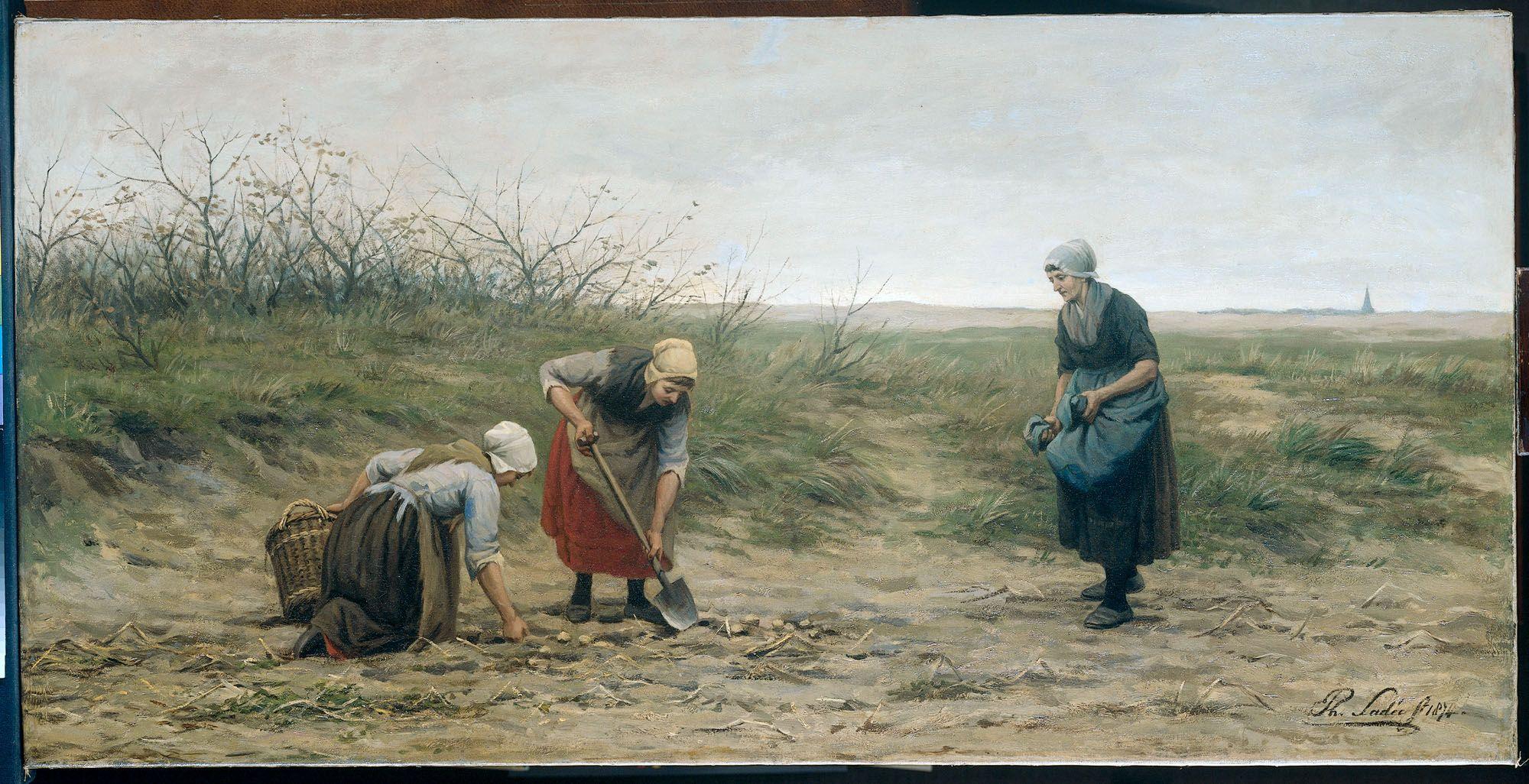 Scheveningse vrouwen bij het nalezen van een gerooid aardappelveld Vervaardiger:  Sadée, Philip 1874