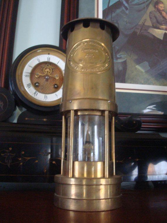Antique Brass Miners Lamp Makers E Thomas Williams Ltd Aberdare Wales Antique Oil Lamps Lamp Antiques