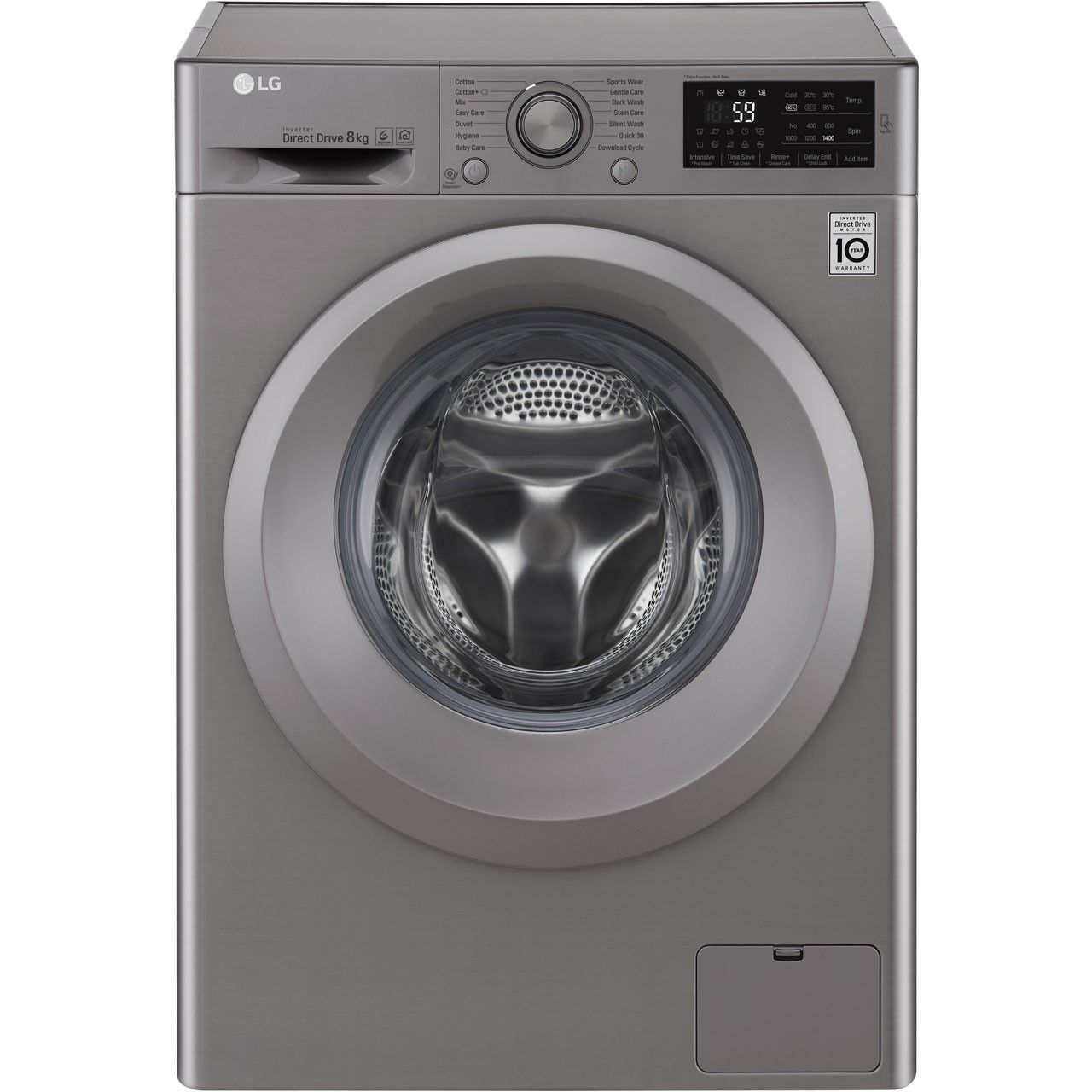 Lg F4j5tn7s 8kg Washing Machine With 1400 Rpm Stainless Steel 649 00 Lg Https Bestbuycyprus Com Washing Ma Washing Machine Cool Things To Buy Machine