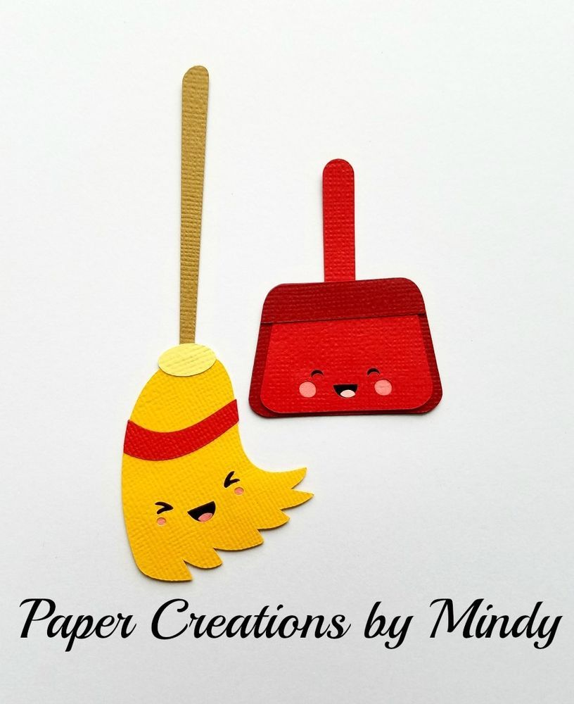 Craftecafe Mindy Kawaii Home Cleaning Broom Pan Premade Paper Piece Scrapbook Mindy Clean House Broom
