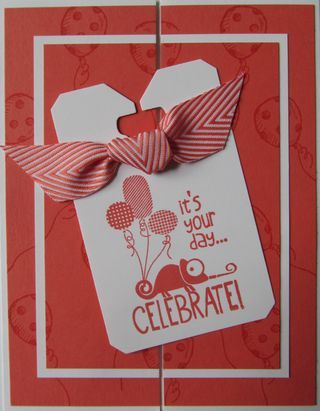 This card features the Stampin' Up! set, Tag It.  Tag It is the new Ronald McDonald stamp set.  Stampin' Up! will donate three dollars to the Ronald McDonald House for every Tag It stamp set that is sold!  It also uses the stamp set, Sketched Birthday and the fun Chevron ribbon.