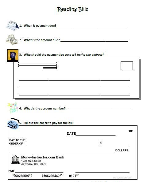 Reading and Paying Bills - visual worksheet. All you need are the ...