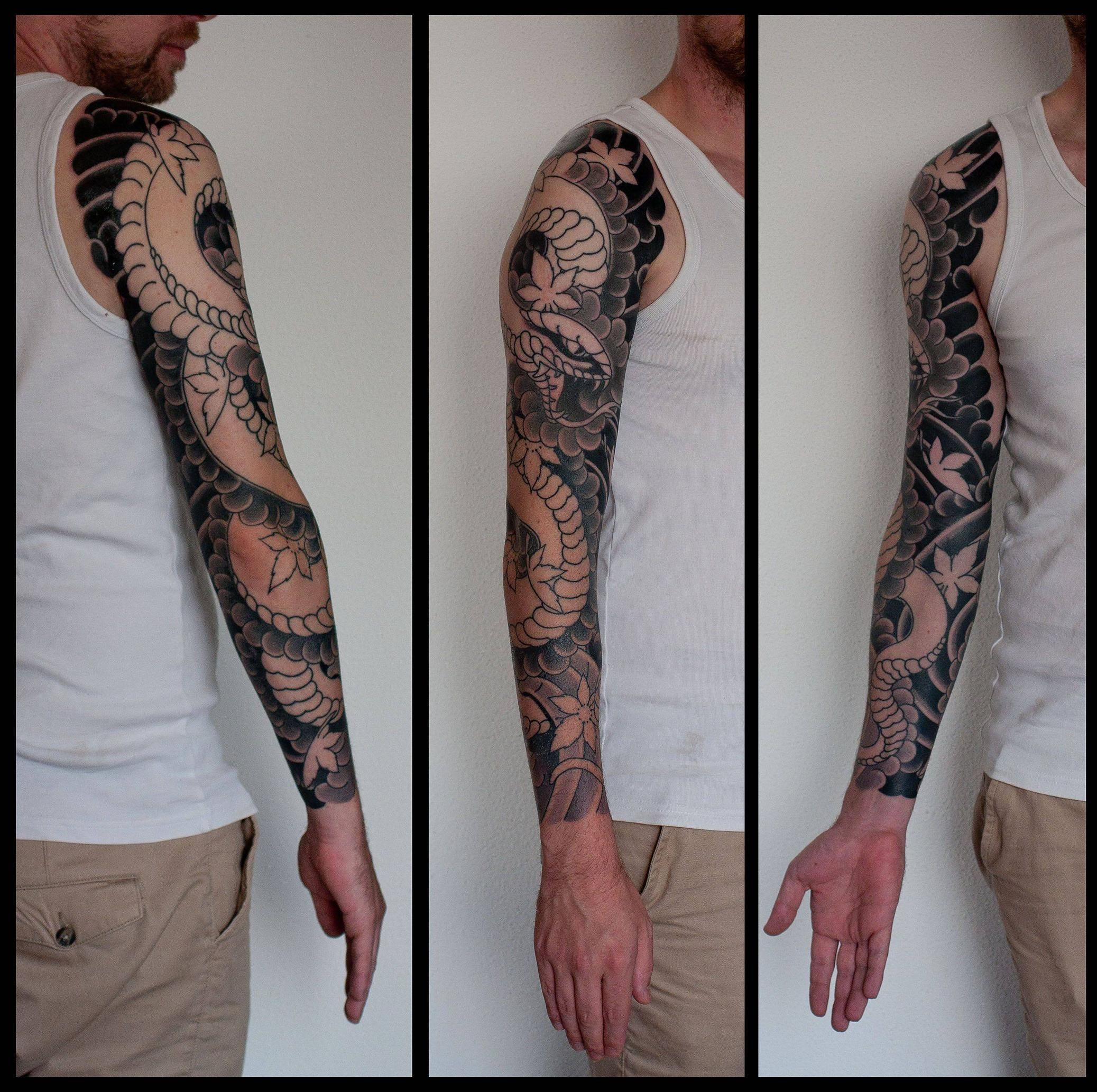 Wip snake sleeve by marco serio amsterdam tatting