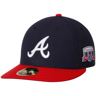 outlet cute cheap official store Men's New Era Navy/Red Atlanta Braves Home Turner Field Authentic ...