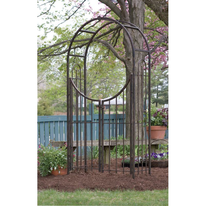 Arched Top Steel Arbor With Gate Garden Arbor With Gate Garden