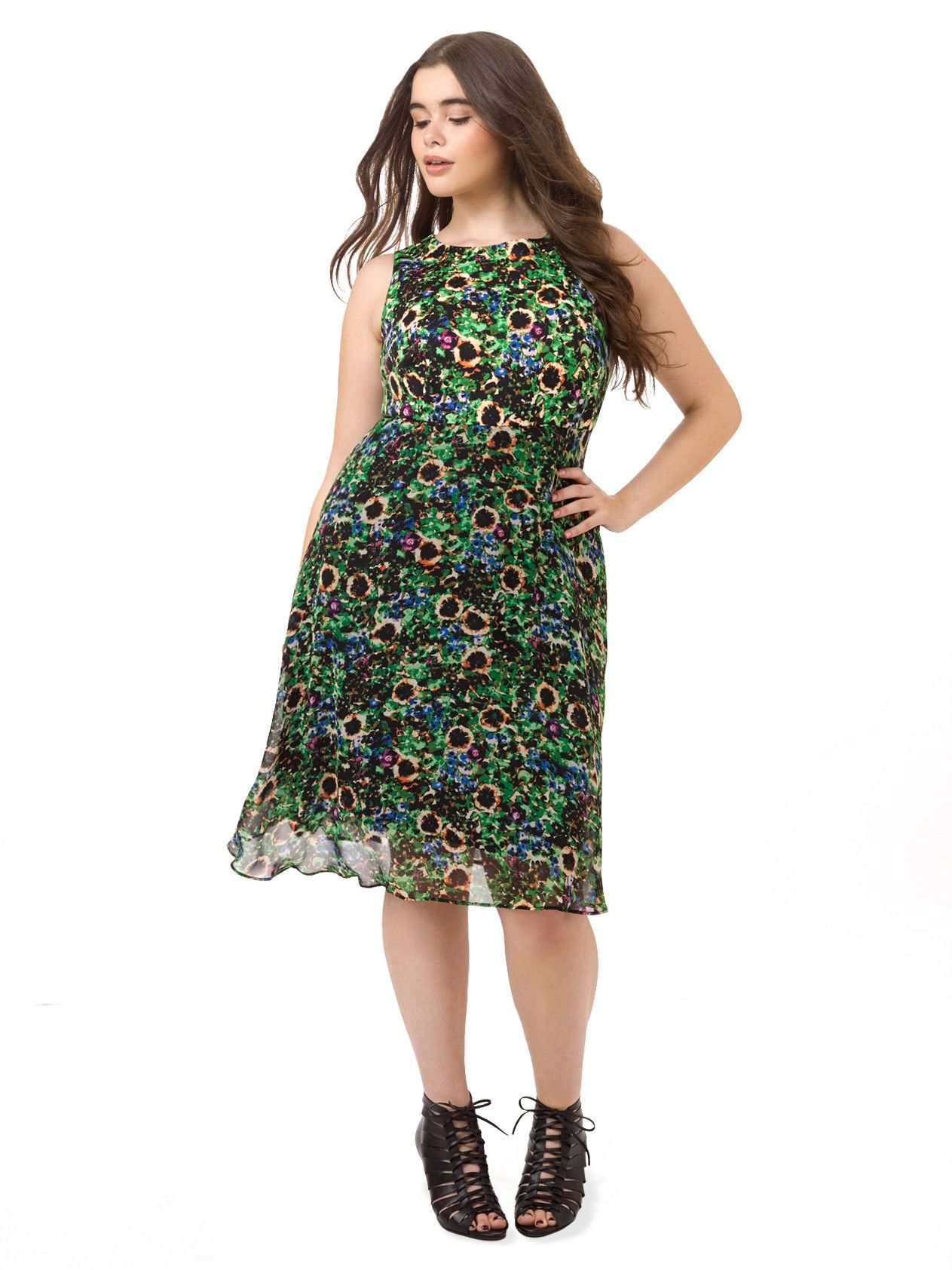 Fit flare dress in garden floral fit flare dress plus