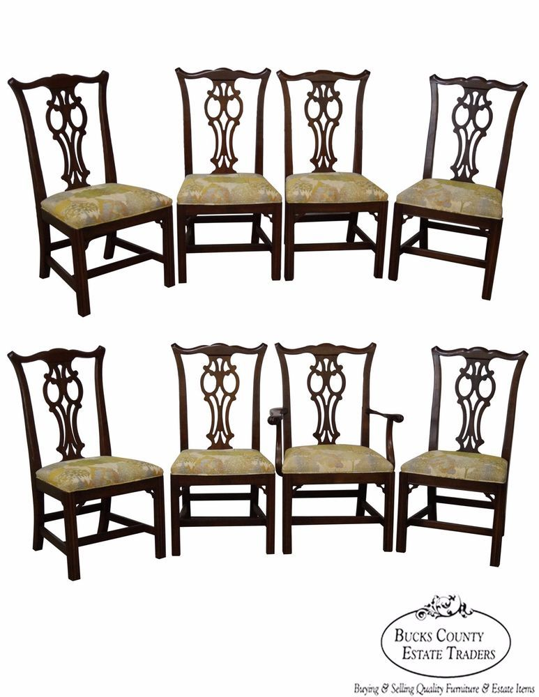 Ethan Allen Vintage Set Of 8 Cherry Georgian Court Chippendale