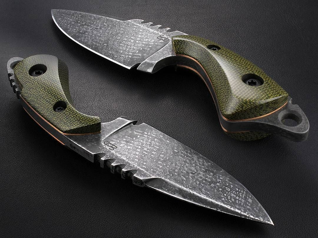 Cool Knife Stonewood Designs Custom Knives Olive Green Micarta Over