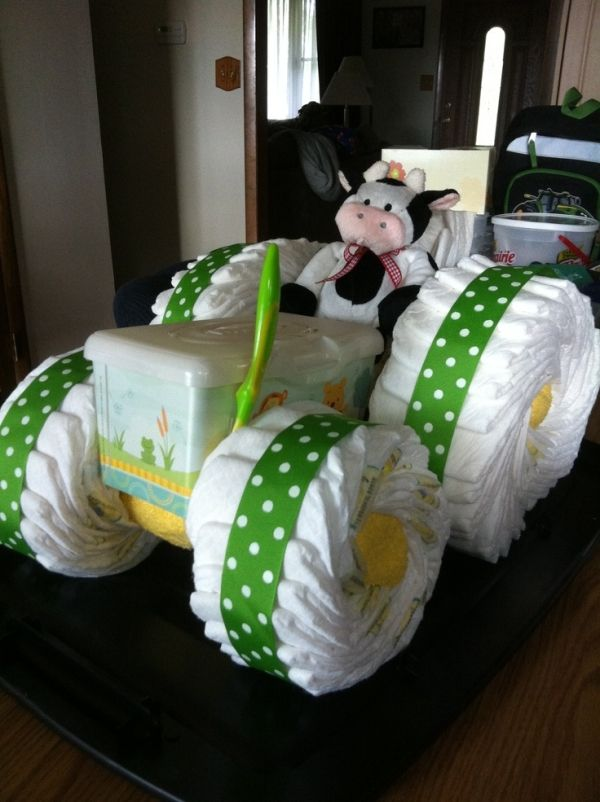 John deere tractor diaper cake by staci21 misc for Diaper crafts for baby shower