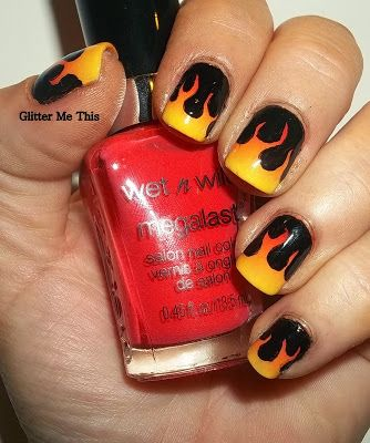 Glitter Me This 33dc Inspired By A Tutorial Fire Nails Finger Nail Art Designs