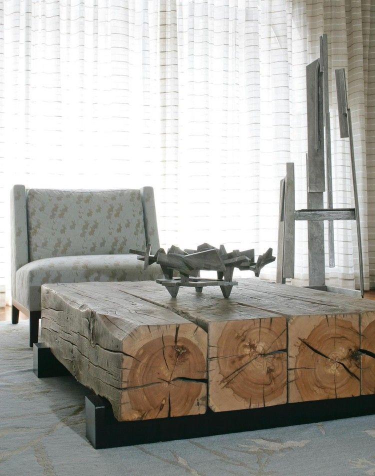 table basse industrielle en troncs darbres fauteuil tapiss de tissu motifs et - Table Basse Tronc D Arbre