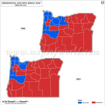 Oregon Election Results Map 2008 Vs 2012 US Presidential