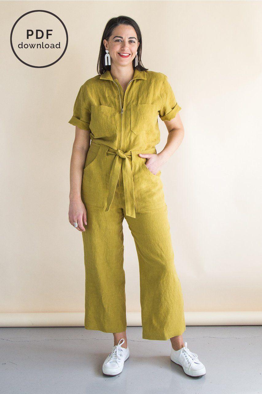 Boiler Suit Sewing Pattern : boiler, sewing, pattern, Blanca, Flight, Boiler, Pattern, Download, Closet, Patterns, Pattern,, Suit,, Sewing