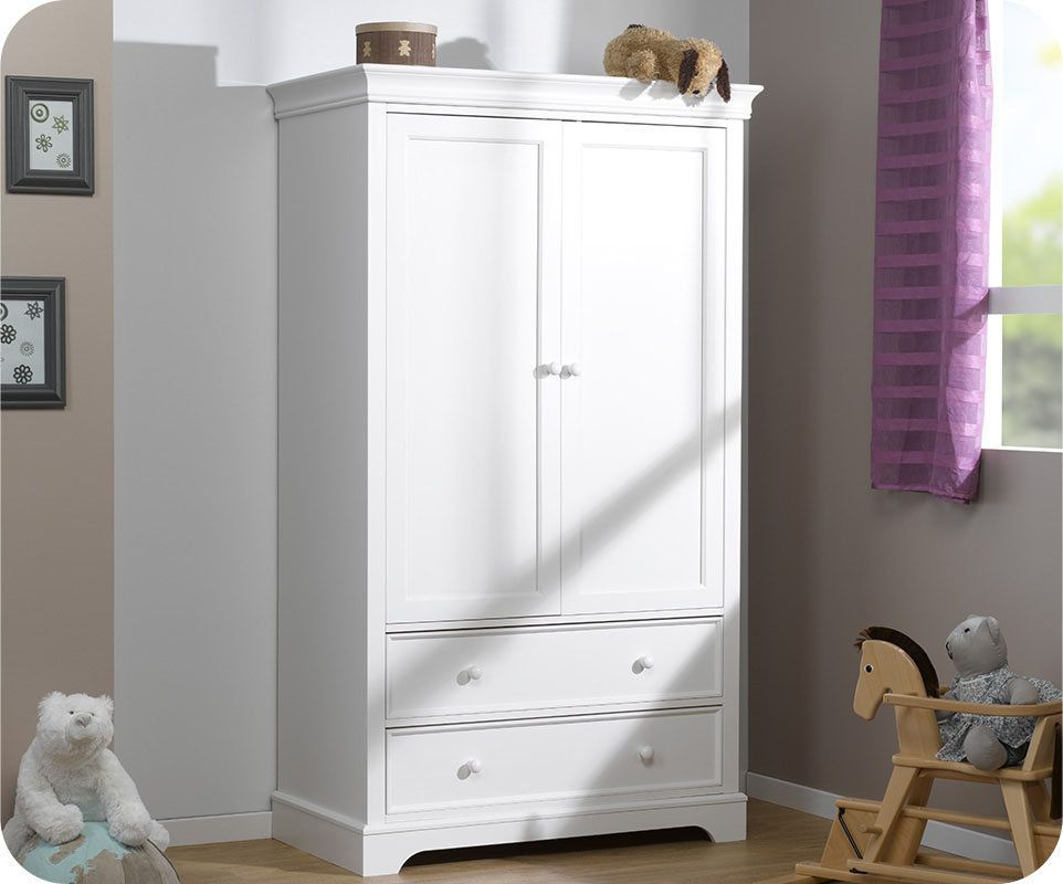 armoire b b mel blanche 2 portes maison pinterest. Black Bedroom Furniture Sets. Home Design Ideas