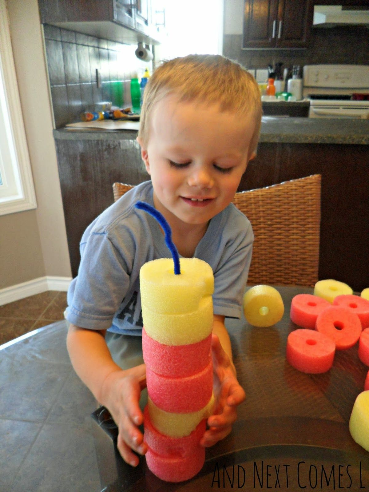 Building with pool noodles and pipe cleaners from And Next Comes L