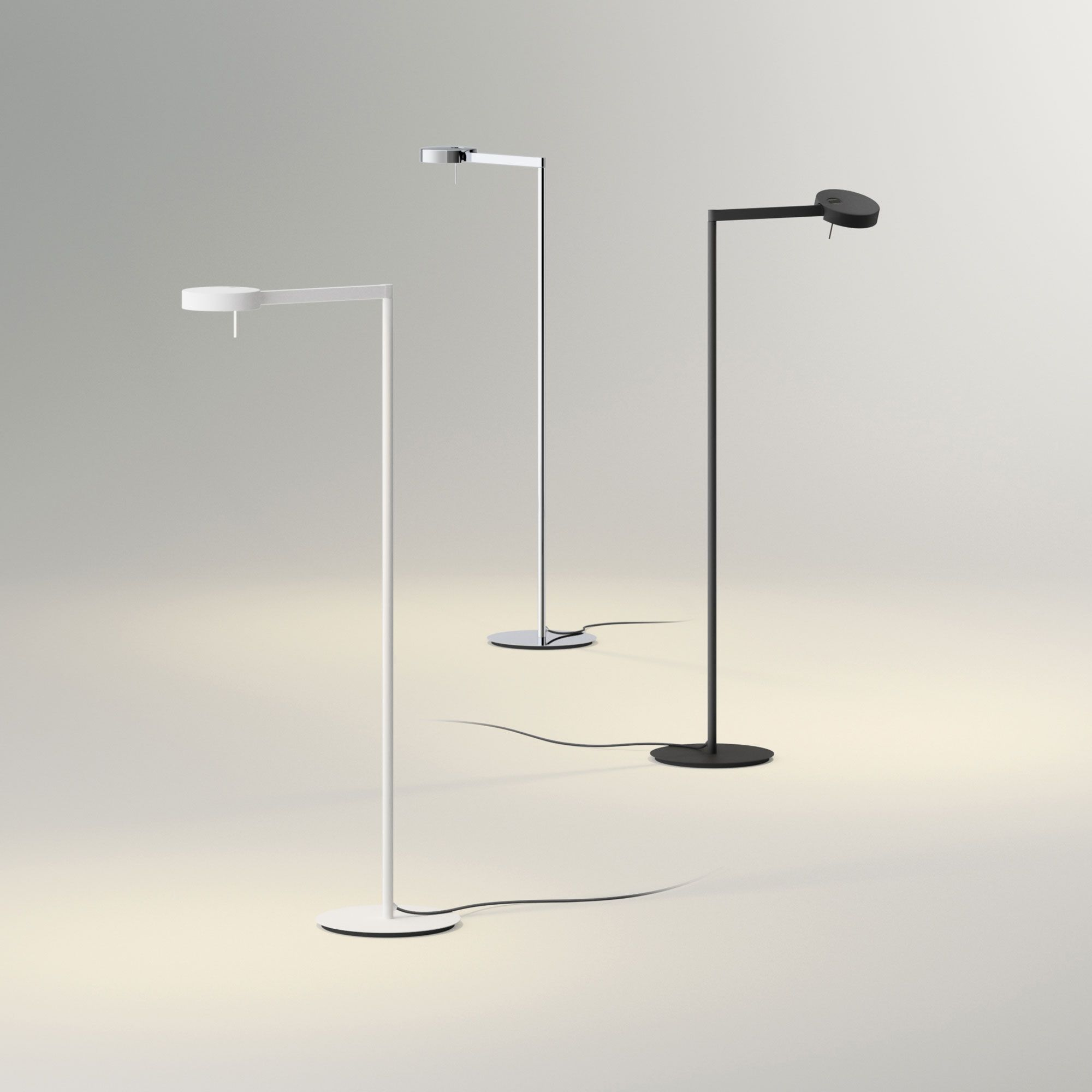 The Swing Task Floor Lamp Is Available With A Matte White Chrome Or Graphite Grey Finish One 8 Watt 120 Volt 2900 Floor Lamp Task Floor Lamp Led Floor Lamp
