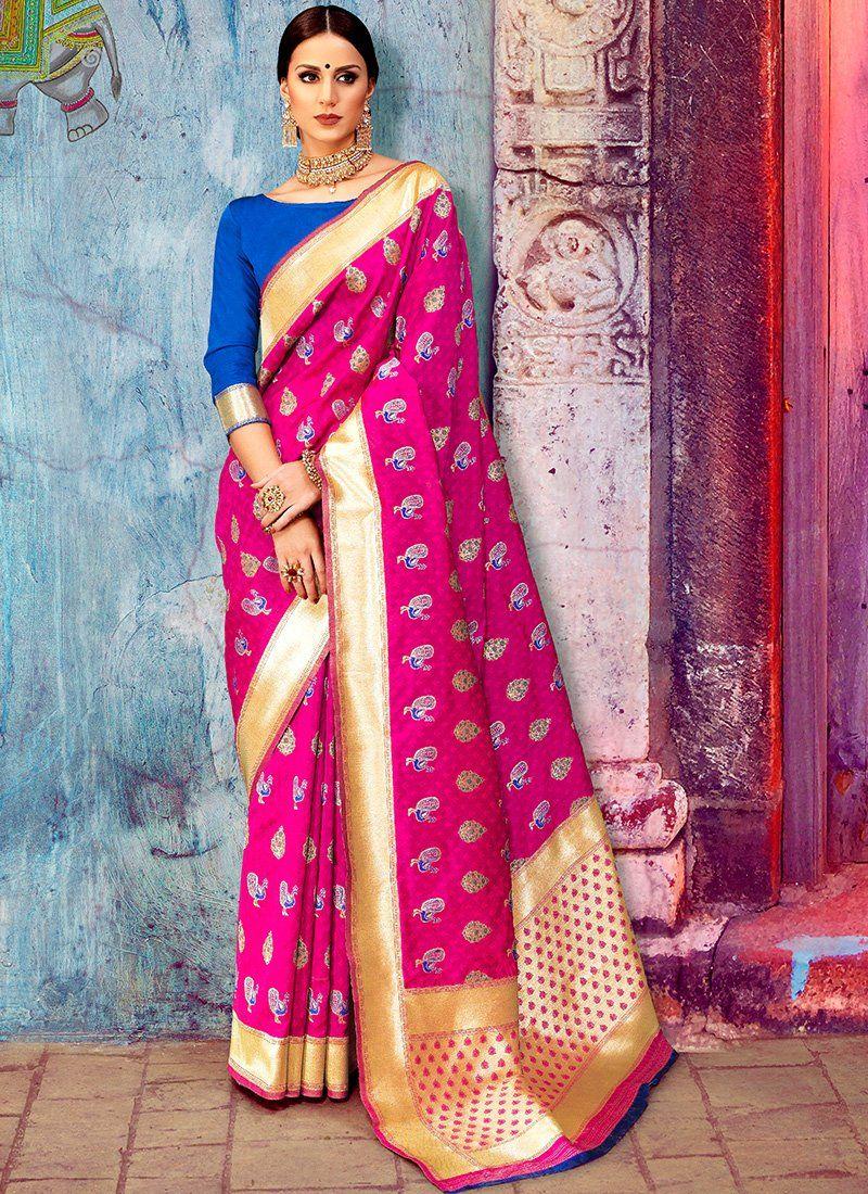 86aa89eb04a923 Hot Pink and Blue Silk Saree features a weaving silk saree alongside an art silk  blouse.