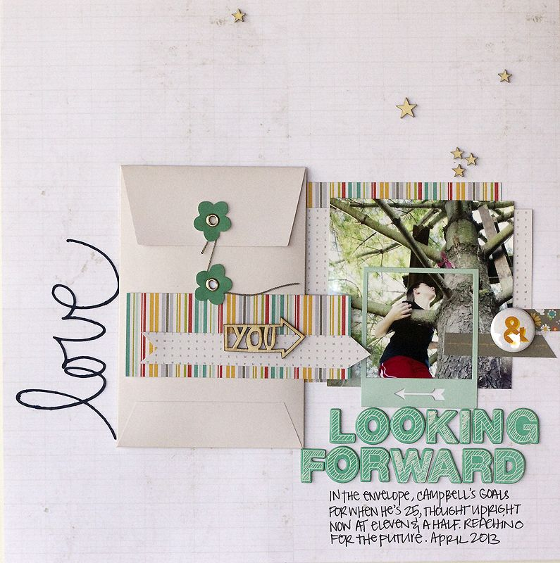 love how the frame and envelope were used here by Jennie McGarvey