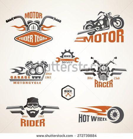Set Of Vintage Motorcycle Labels Badges And Design Elements Bike Logos Design Motorcycle Logo Vintage Motorcycle Art