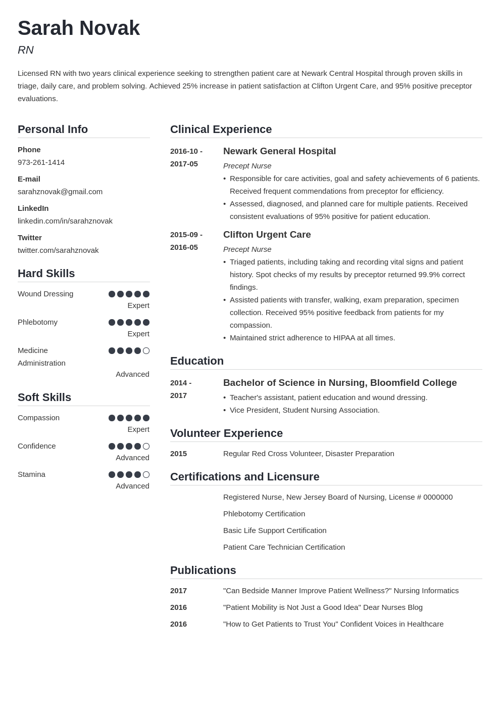nursing student resume example template simple in 2020