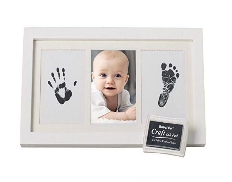 Baby Handprint and Footprint Photo Frame Kit Inkless for Newborn Girls Boys Keepsake Picture Album Frames Personalised Shower Gift Set for Registry with 2 Ink Pad Room Wall Nursery Decorations