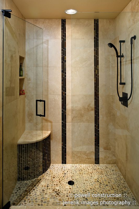 Travertine Shower Ideas travertine shower with united tile island pebbles on floor and