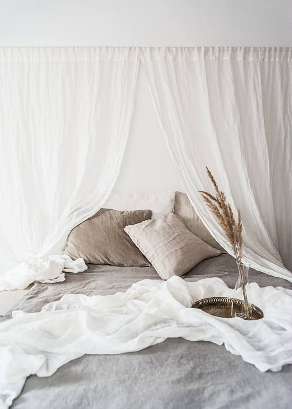 Ethereal Linen Curtains Bed Drape Linen Curtain Panel Light And Transparent Linen Muslin In Off White Window Decoration Linen Curtains Bed Drapes White Linen Curtains